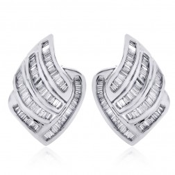 1.75 Carat Channel Set Baguette Cut Diamond Huggy Earrings 14K White Gold