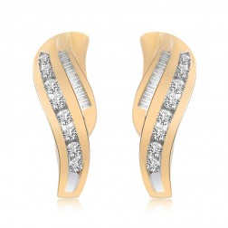 0.50 Carat Round & Baguette Cut Diamond Huggy Earrings 14K Yellow Gold