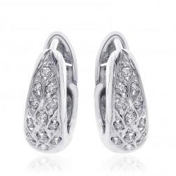 0.35 Carat Round Cut Diamond Huggy Earrings 14K White Gold