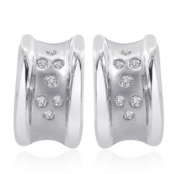 0.20 Carat Burnish Set Round Diamond Huggy Earrings 14K White Gold