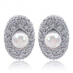 5.7mm White Sea Pearl & Pave Round Diamond Huggy Earrings 18K White Gold