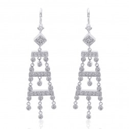 0.75 Carat Diamond Chandelier Drop Earring 14K White Gold