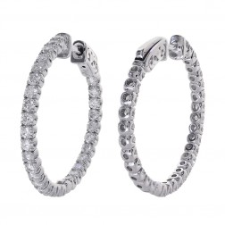 2.50 Carat Round Cut Diamond Inside/Outside Hoop Earrings 14K White Gold