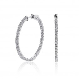 2.45 Carat Round Cut Diamond Inside/Outside Hoop Earrings 14K White Gold
