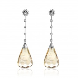 36.40 Carat Smokey Topaz & Diamond Dangling Earrings 14K White Gold