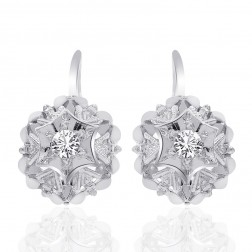 0.25 Carat Round Cut White Sapphire French Back Earring 14K White Gold