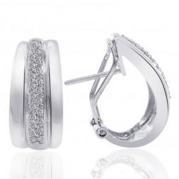 0.45 Carat Pave Round Cut Diamond Huggy Earrings 14K White Gold
