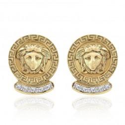 0.35 Carat Diamond Vintage Medusa Button Earrings 14K Yellow Gold