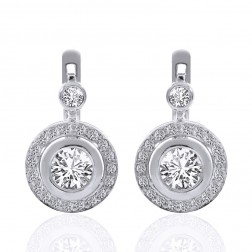 2.35 Carat Round Cut Diamond Halo French Back Earrings 14K White Gold