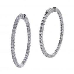 3.25 Carat Round Cut Diamond Inside/Outside Hoop Earrings 14K White Gold