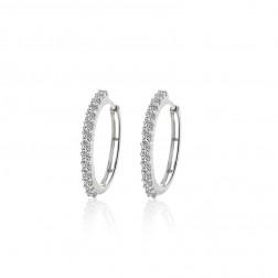 0.75 Carat Round Brilliant Cut Diamond Hoop Earrings 14K White Gold