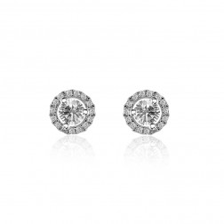 0.66 Carat Round Brilliant Cut Diamond Halo Stud Earrings 18K White Gold