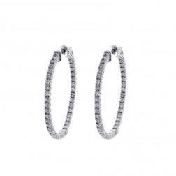 1.75 Carat Round Cut Diamond Inside/Outside Hoop Earrings 14K White Gold