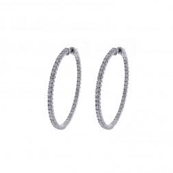3.00 Carat Round Cut Diamond Inside/Outside Hoop Earrings 14K White Gold