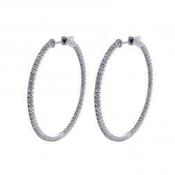 1.25 Carat Round Cut Diamond Inside/Outside Hoop Earrings 14K White Gold