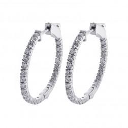 1.10 Carat Round Cut Diamond Inside/Outside Hoop Earrings 14K White Gold