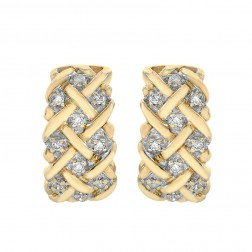0.20 Carat Round Diamond Basket Weave Huggy Earrings 10K Yellow Gold