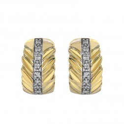 0.15 Carat Round Pave Diamond Huggy Earrings in 14K Yellow Gold