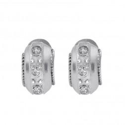 0.30 Carat Bezel Set Round Cut Diamond Huggy Earrings 14K White Gold