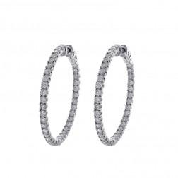 3.00 Carat Round Diamond Inside/Outside Hoop Earrings 14K White Gold