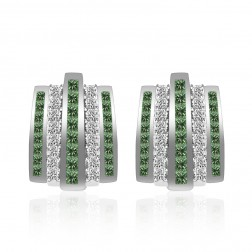 3.20 Carat White Fancy Green Princess Cut Diamond Huggy Earrings 14K White Gold