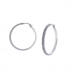 1.00 Carat Round Cut Diamond Hoop Earrings 14K White Gold