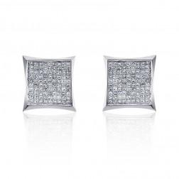 0.55 Carat Invisible Set Princess Cut Diamond Earrings 14K White Gold