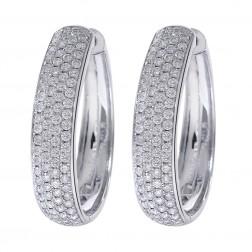 1.45 Carat Diamond Hoop Earrings 14K White Gold