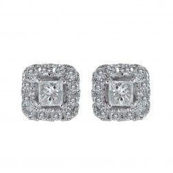 0.55 Carat Princess & Round Cut Diamond Halo Stud Earrings 14K White Gold