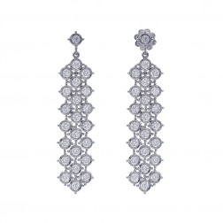 2.85 Carat Diamond Triple Strand Dangle Stud Earrings 14K White Gold 48mm Long