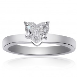 0.77 Carat F-VS1 Natural Heart Shape Diamond Engagement Ring Platinum