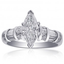 1.45 Carat G-SI1 Natural Marquise Cut Diamond Engagement Ring 14K White Gold