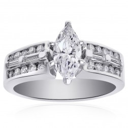 1.30 Carat E-VS1 Natural Marquise Cut Diamond Engagement Ring 14K White Gold