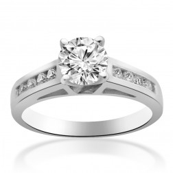 1.05 Carat H-VS2 Round Brilliant Cut Diamond Engagement Ring 14K White Gold