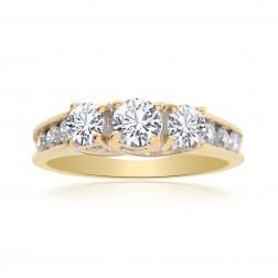 0.90 Carat Round Cut Diamond Engagement Ring 14K Yellow Gold