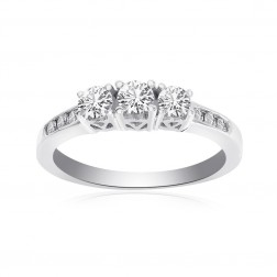 0.50 Carat Round Cut Diamond Engagement Ring 14K White Gold