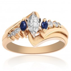 0.50 Carat Marquise Cut Diamond & Sapphire Engagement Ring 14K Yellow Gold