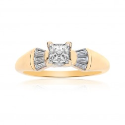 0.55 Carat Princess/Baguette Cut Diamond Engagement Ring 14K Yellow Gold