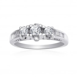 0.45 Carat Diamond Three Stones Engagement Ring 14K White Gold