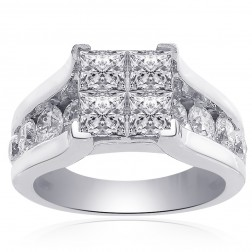 3.00 Carat F VS2 Invisible Set Princess Cut Quad Diamond Engagement Ring 14k White Gold