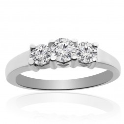 0.33 Carat H-SI1 Natural Round Brilliant Diamond Three Stone Engagement Ring 14K white gold