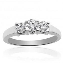 0.33 Carat H-SI1 Natural Round Brilliant Diamond Three Stone Engagement Ring 14K