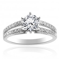 1.25 Carat G-VS1 Natural Round Cut Diamond Split Shank Engagement Ring