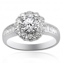 1.97 Carat H-VS2 Natural Round Cut Diamond Halo Engagement Ring 18K White Gold