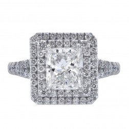 2.03ct Princess Cut Diamond Engagement Ring Double Halo Split Shank Platinum