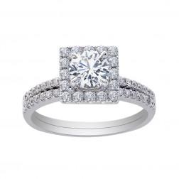 1.20 Carat Round Diamond Engagement Ring/Wedding Band Set 14K White Gold