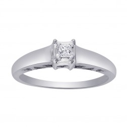 0.07 Carat Princess Cut Diamond Engagement Ring 14K White Gold