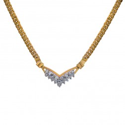 0.90 Carat Round Cut Diamond Cluster Curb Link Necklace 14K Yellow Gold