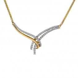 0.65 Carat Round Cut Diamond Bow Necklace 14K Yellow Gold