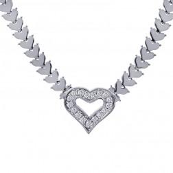 1.00 Carat Pavé Round Cut Diamond Heart Shape Necklace 14K White Gold